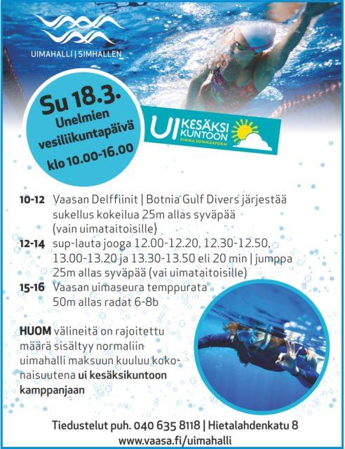 Unelmien vesiliikuntapäivä sunnuntaina 18.3.2018. tervetuloa kokeilemaan sukeltamista klo10-12