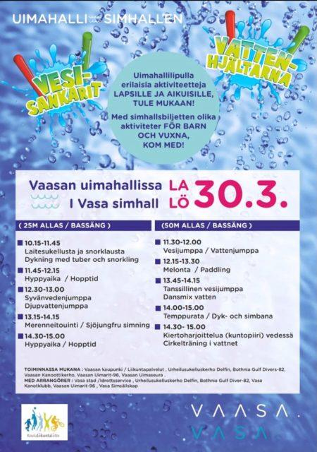 Vaasan uimahallissa tapahtuu, 10:15-11:45 intro-sukellus 25m altaassa!